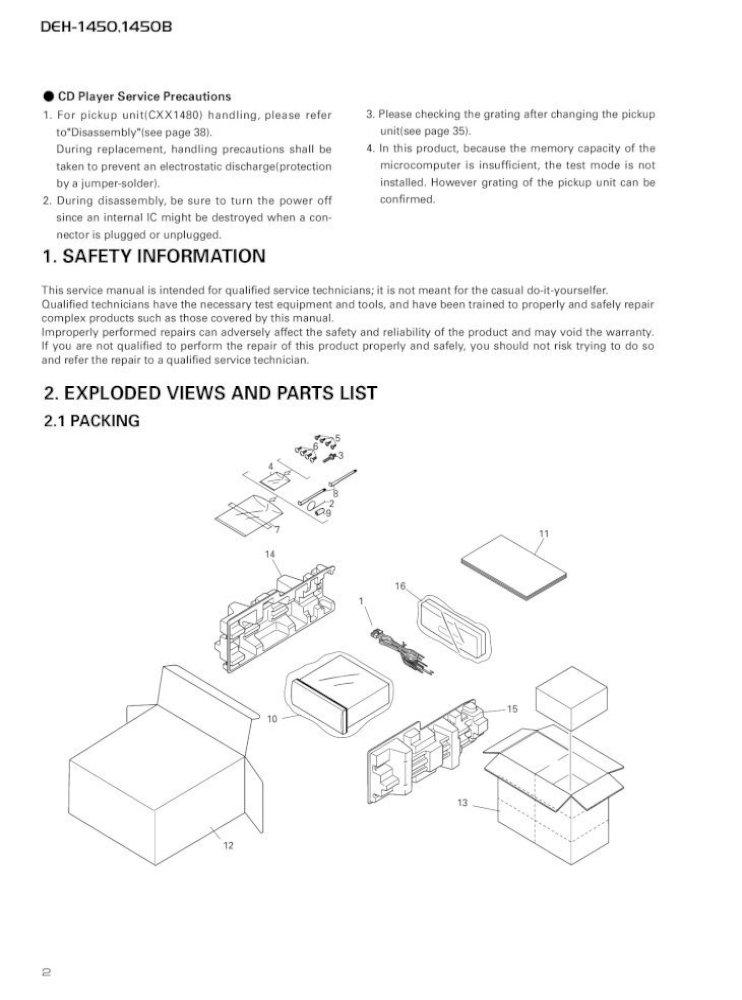 manual de servicio pioneer deh1450 c2756  pdf document